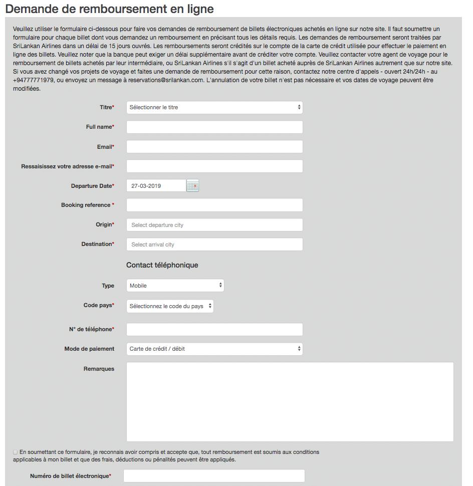 Capture du formulaire de remboursement